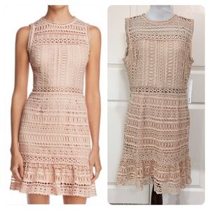 NWT! AQUA Flounce-Hem Lace Dress